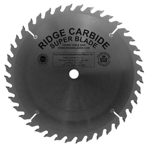 "Ridge Carbide 10"" TS2000 Super 3/32"" Thin Kerf ATBR Combo 40 Tooth Blade TS21040TK"