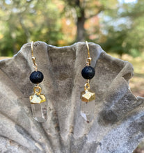 Load image into Gallery viewer, Gold-dipped Crystal Diffuser Earrings