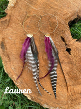 Load image into Gallery viewer, Octagon Feather Earrings