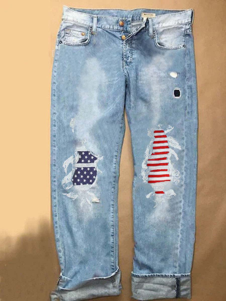 Women's Ripped Jeans With American Flag