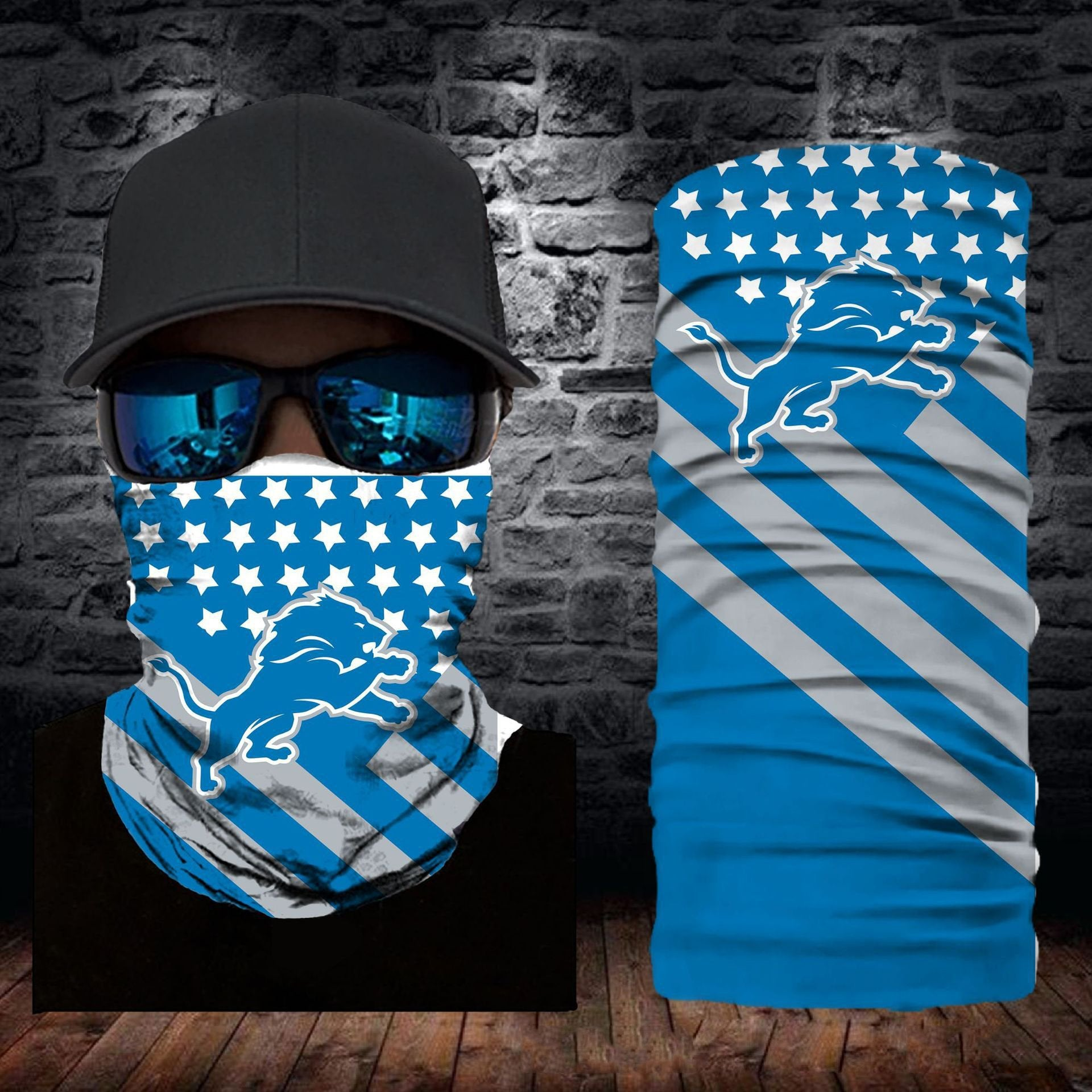 Detroit Lions Flag Face Mask Bandanas