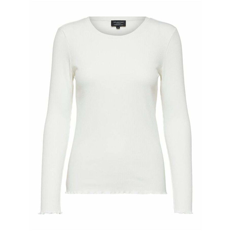 Selected Femme - Slfanna neck tee wit