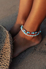 Wildthings - Blue flower anklet gold