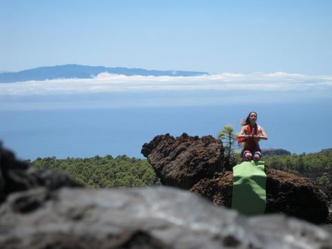 Yoga Exercise in the Mountain with Yogasana Mat