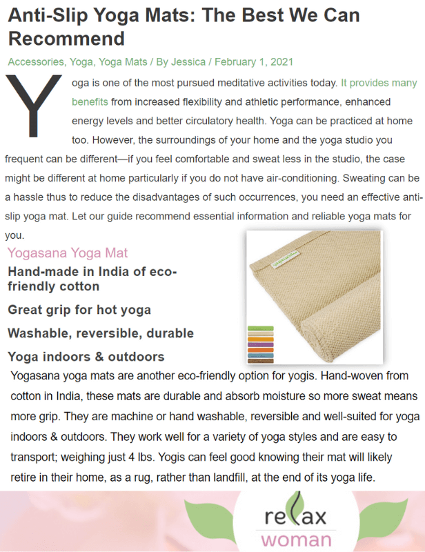 Yogasana ranked as one of the Best Yoga Mats on Relax Woman