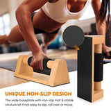 PACEARTH Wood Push Up Bars with Full Non-Slip Baseplate