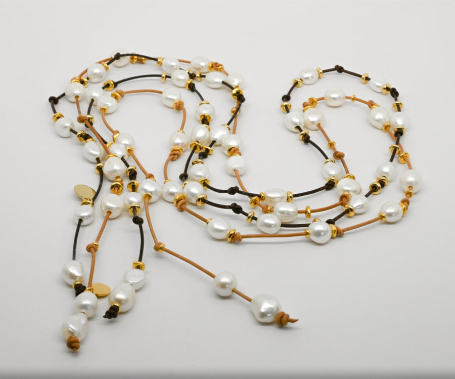 Lariat : Freshwater pearl classic with little Gold beads