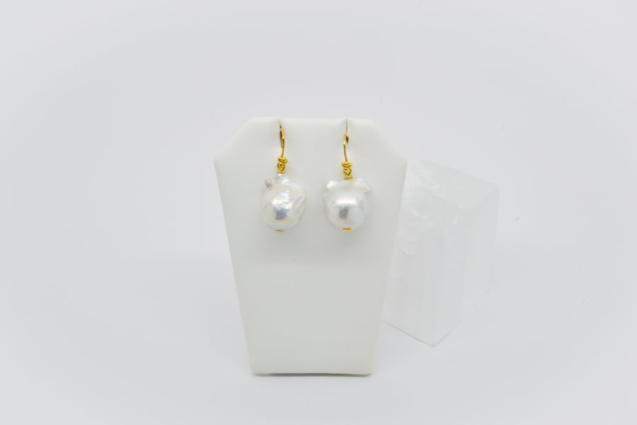 Gold Plated Earring: Large White baroque earring on gold plated hook