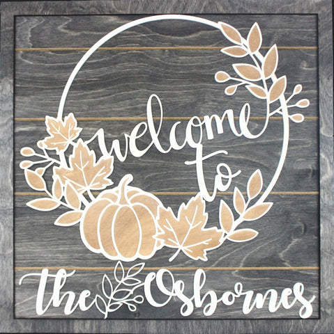 Layered Lettering Welcome Name Sign on Shiplap   Wood Engraved last name sign