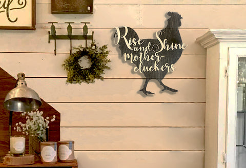 Rooster Rise and Shine | custom rustic farmhouse decor,  Engraved Wood Plaque