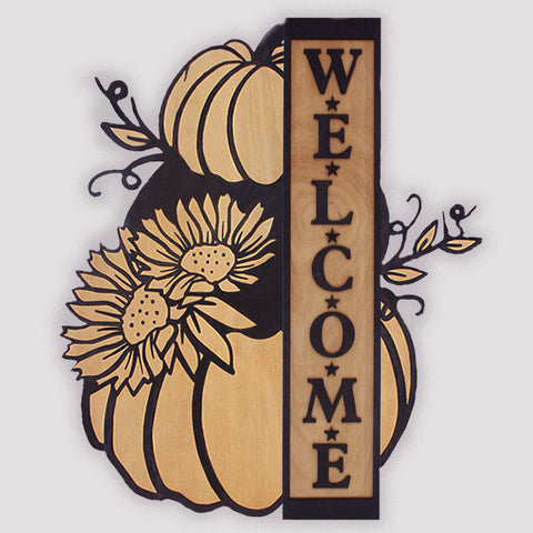Custom Pumpkin Welcome Sign | Stacked Pumpkin Rustic Farmhouse Decor Engraved Wood Welcome Plaque