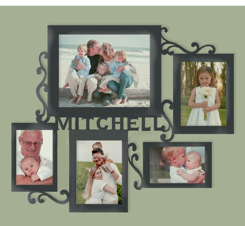 Wood Collage Picture Frame with six picture holders and personalized name sign in center