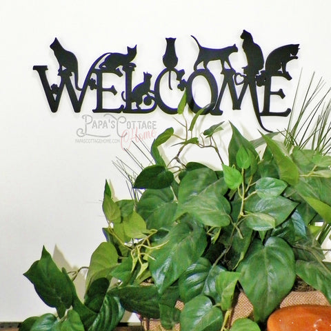 """Cat Welcome"" Decorative Sign - Papa's Cottage Home Goods & Decor"