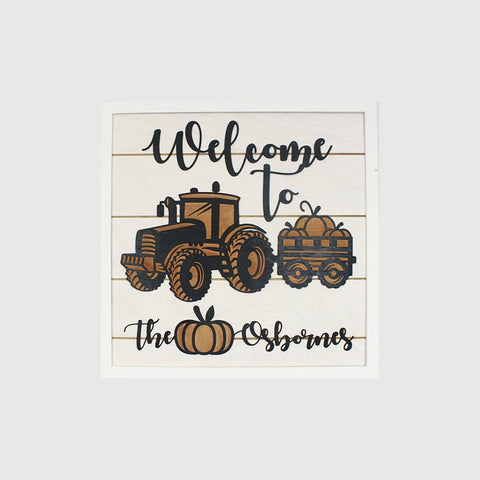 Welcome to The Farm Farmhouse Name Sign Decor - Papa's Cottage Home Goods & Decor
