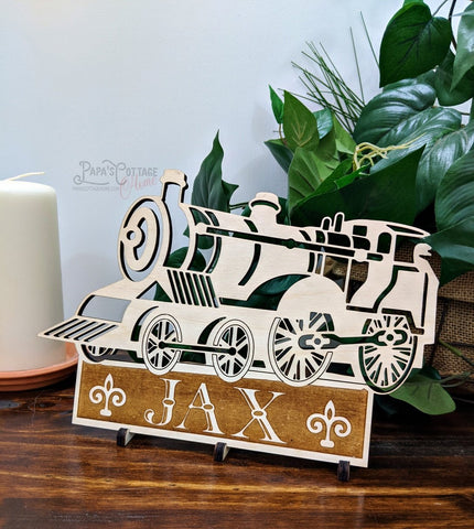 "9"" Personalized ""Train Name Sign"" - Papa's Cottage Home Goods & Decor"