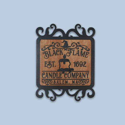 """Halloween Black Flame Candle Plaque""  Decorative Sign - Papa's Cottage Home Goods & Decor"