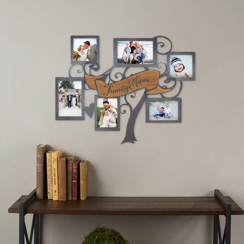 Wood Collage Picture Frame with six picture holders and personalized engraved name sign in center