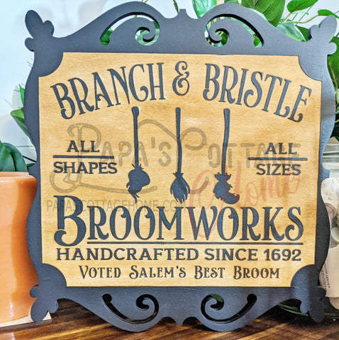 """Branch and Bristle"" Halloween Decorative Sign - Papa's Cottage Home Goods & Decor"
