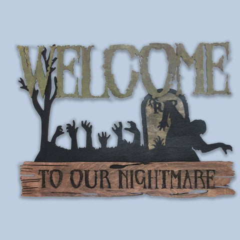 """Halloween Zombie Nightmare""  Decorative Sign - Papa's Cottage Home Goods & Decor"