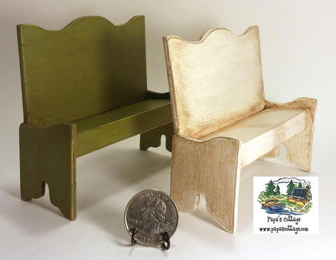 Primitive Farmhouse Bench 1:12 - Papa's Cottage Home Goods & Decor
