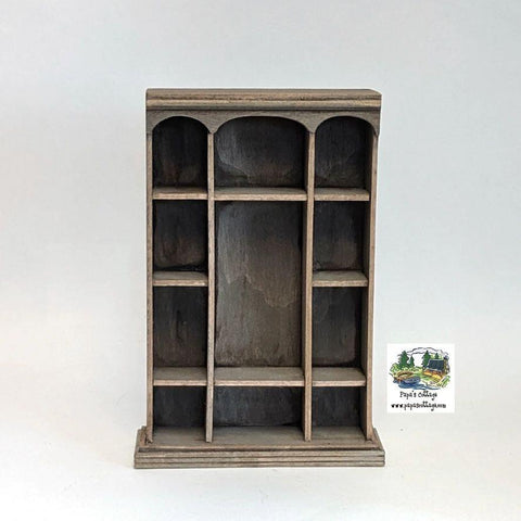 Triple Arch Wide Bookcase 1:12 - Papa's Cottage Home Goods & Decor