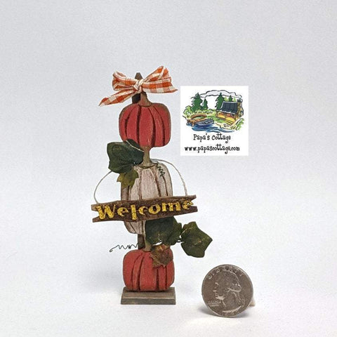 Fall Pumpkin Stand with Welcome Sign 1:12 - Papa's Cottage Home Goods & Decor
