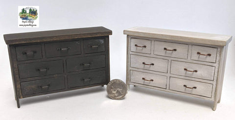 Modern Farmhouse Dresser with faux drawers 1:12 - Papa's Cottage Home Goods & Decor