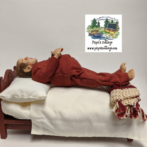Tired chubby dad doll, sleeping man 1:12 - Papa's Cottage Home Goods & Decor