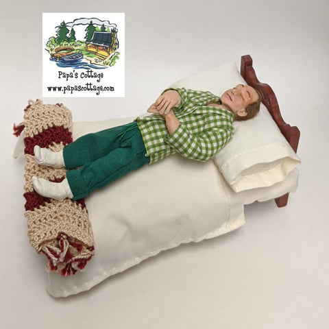 Sleeping dad doll, tired man 1:12 - Papa's Cottage Home Goods & Decor