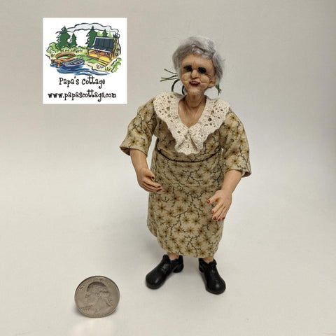 Lovely old woman/grandmother doll 1:12 - Papa's Cottage Home Goods & Decor