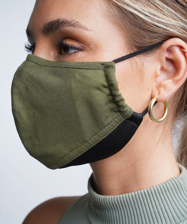 Khaki | Black - Adjustable, reusable, breathable, cotton everyday face covering