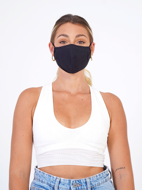 2 Pack <br> Black | Black + Black | Black - Adjustable, reusable, breathable, cotton everyday face covering