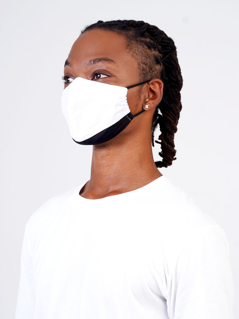 White | Black - Adjustable, reusable, breathable, cotton everyday face covering