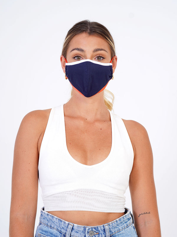 2 Pack <br> White | Navy | Tangerine + Navy | Olive - Adjustable, reusable, breathable, cotton everyday face covering