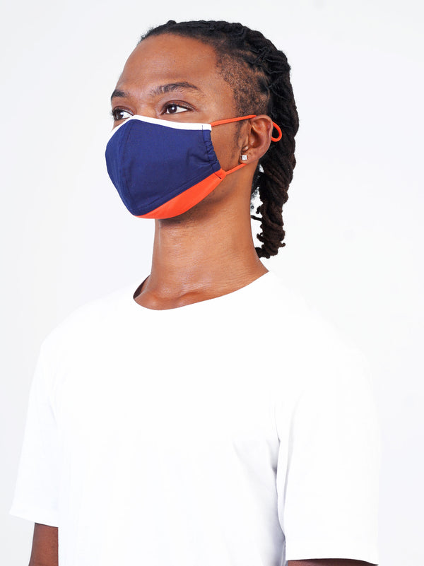 5 Pack - Blue Edition - Adjustable, reusable, breathable, cotton everyday face covering