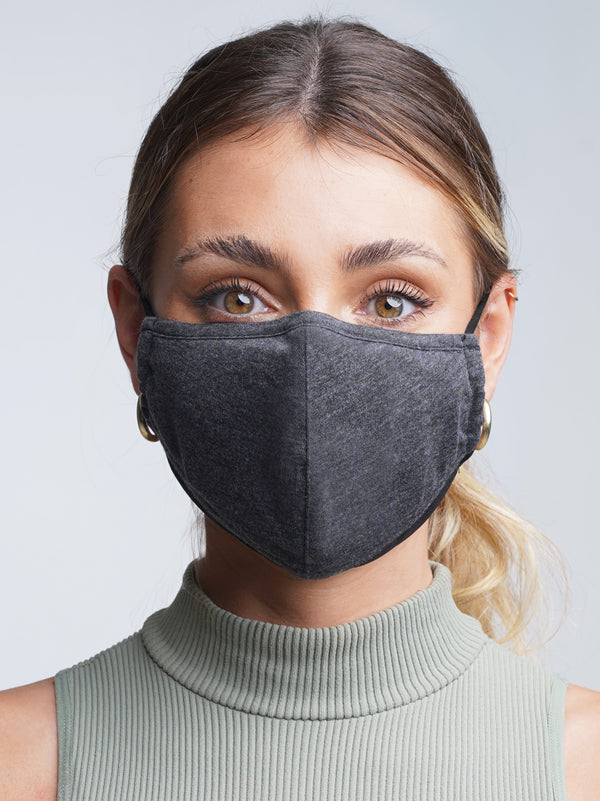 Slate | Black - Adjustable, reusable, breathable, cotton everyday face covering