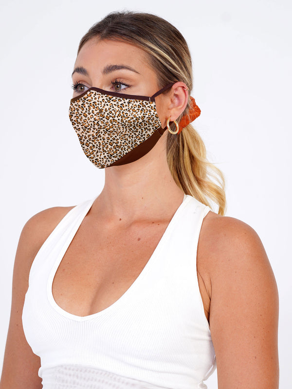 3 Pack - Leopard Edition - Adjustable, reusable, breathable, cotton everyday face covering