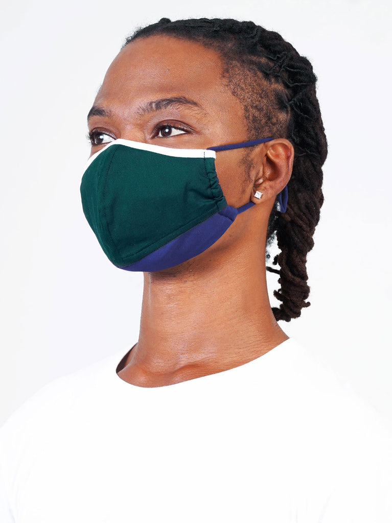 White | Green | Navy - Adjustable, reusable, breathable, cotton everyday face covering
