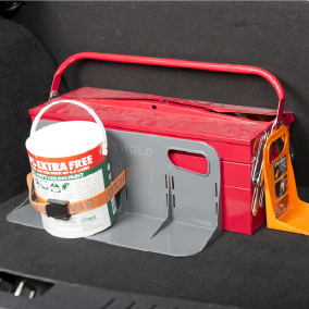 Stayhold Utility Strap packs x 2 holding paint can on classic holding tool box  Edit alt text