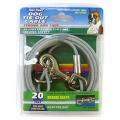 Four Paws Dog Tie Out Cable - Heavy Weight - Black