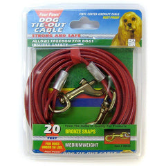 Four Paws Dog Tie Out Cable - Medium Weight - Red