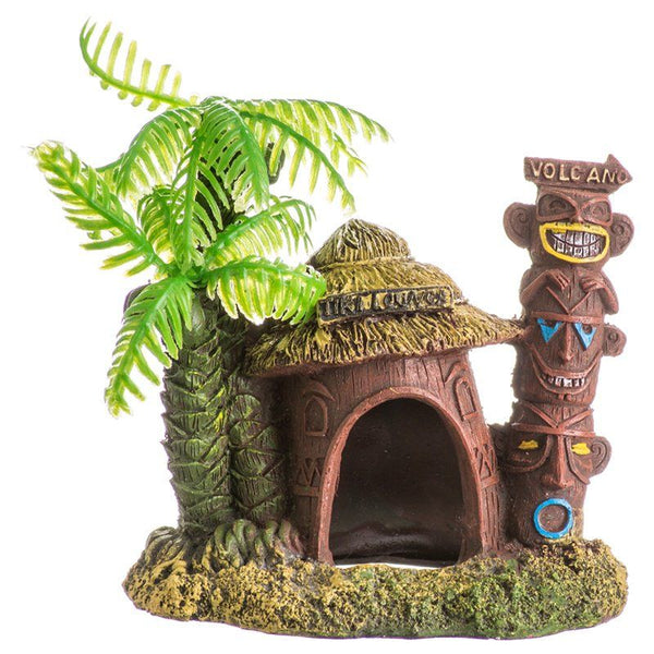 Blue Ribbon Exotic Environments Betta Hut with Palm Tree Aquarium Ornament