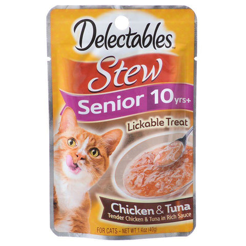 Hartz Delectables Stew Senior Lickable Cat Treats - Chicken & Tuna