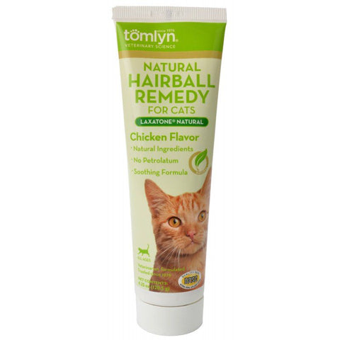 Tomlyn Laxatone Natural Hairball Remedy Gel for Cats - Chicken Flavor