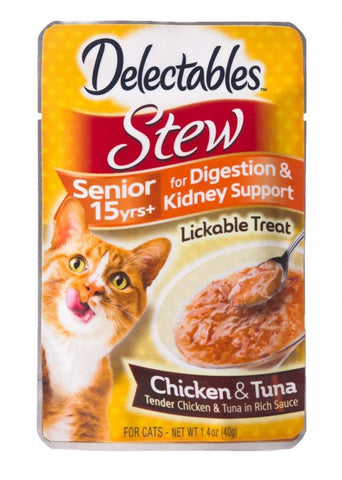 Hartz Delectables Stew Senior Cat Treats - Chicken & Tuna