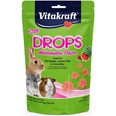 Vitakraft Star Drops Treat for Rabbits, Guinea Pigs & Chinchillas - Watermelon Flavor