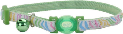 Coastal Pet Safe Cat Glow in the Dark Adjustable Collar Green Stripe