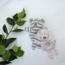 Load image into Gallery viewer, My Knitted Teddy Rattle - Pink Stripe
