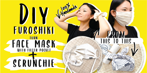 DIY Furoshiki Turn Pleated Face Mask with Filter Pocket + Scrunchie