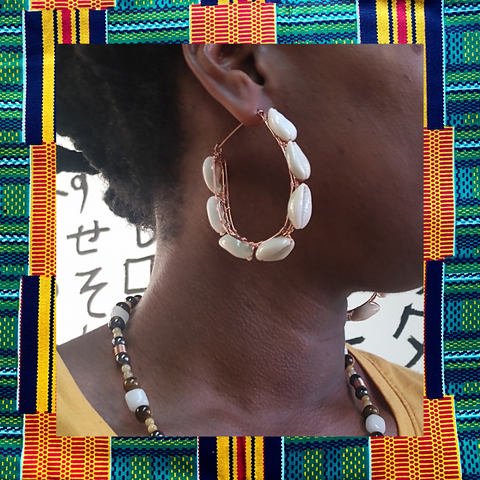 Cowrie Shell Horse Shoe Hoops